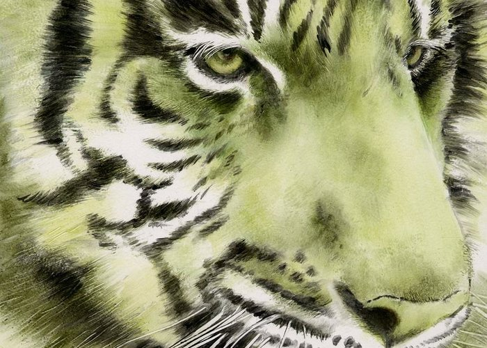 Tiger Greeting Card featuring the painting Green Tiger by Summer Celeste