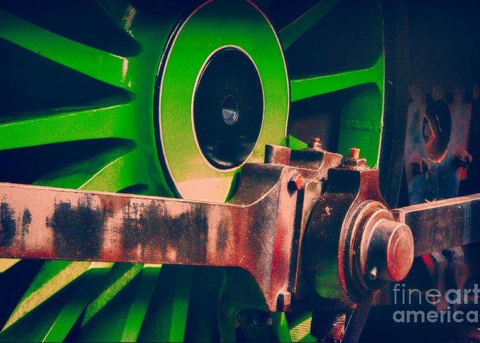 Loco Greeting Card featuring the digital art Green Train Wheel by Paul Stevens