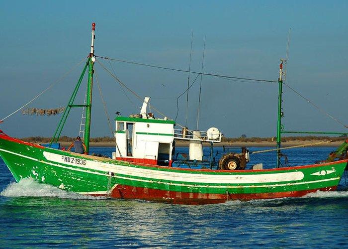 Vila Real De Santo Antonio Greeting Card featuring the photograph Green Trawler by Luis Esteves