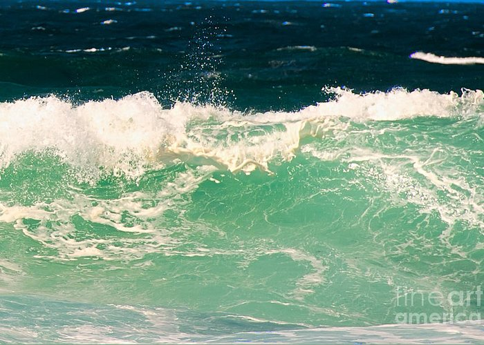 Pacific Grove Greeting Card featuring the photograph Green Wave Pacific Grove Ca by Artist and Photographer Laura Wrede