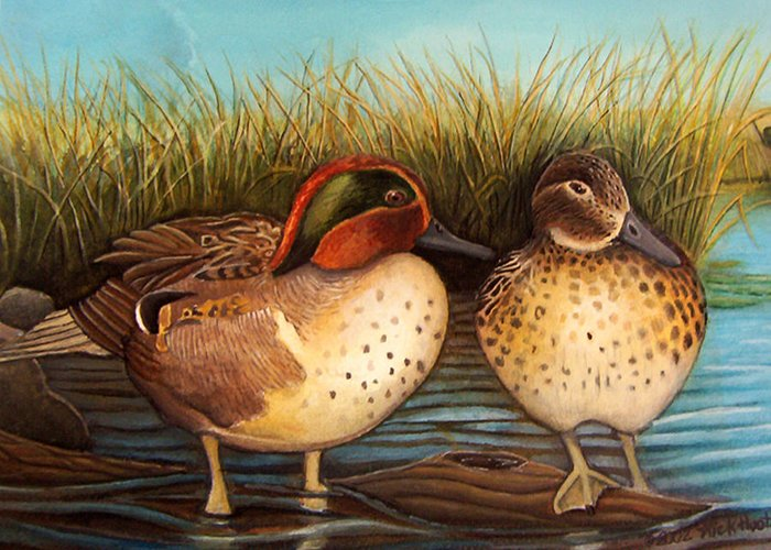 Rick Huotari Greeting Card featuring the painting Green Winged Teal by Rick Huotari