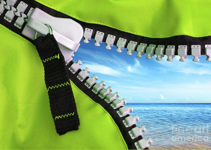 Background Greeting Card featuring the photograph Green Zipper by Carlos Caetano