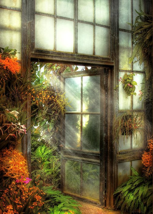 Savad Greeting Card featuring the photograph Greenhouse - The Door To Paradise by Mike Savad