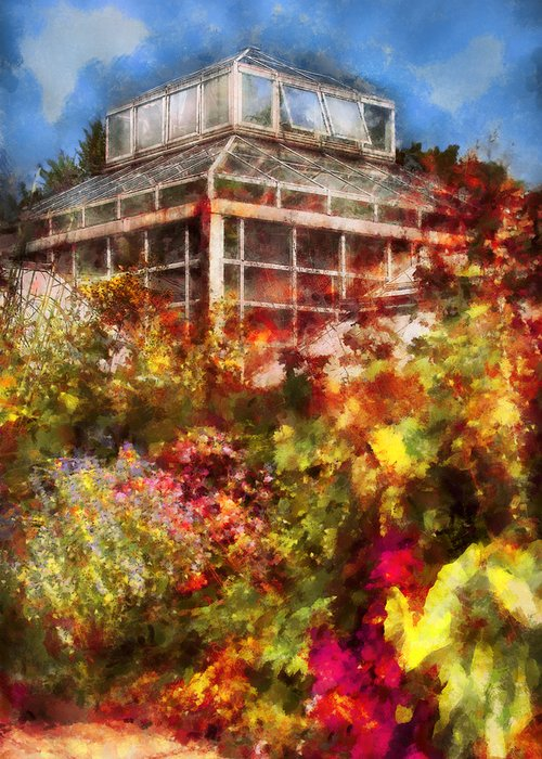 Savad Greeting Card featuring the digital art Greenhouse - The Greenhouse And The Garden by Mike Savad