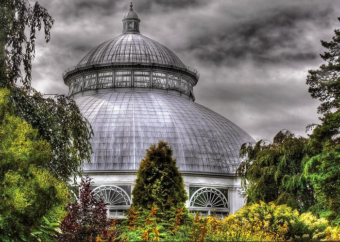 Savad Greeting Card featuring the photograph Greenhouse - The Observatory by Mike Savad