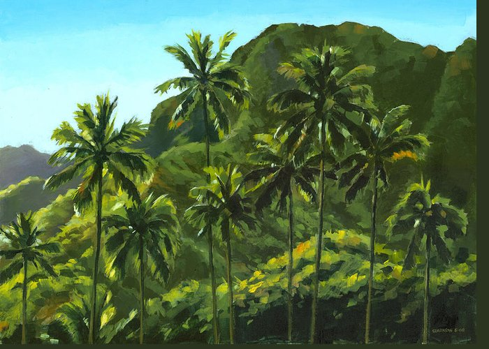 Coconut Palms Greeting Card featuring the painting Greens Of Kahana by Douglas Simonson