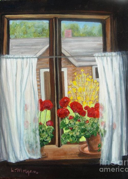 Windows Greeting Card featuring the painting Greet The Day by Laurie Morgan