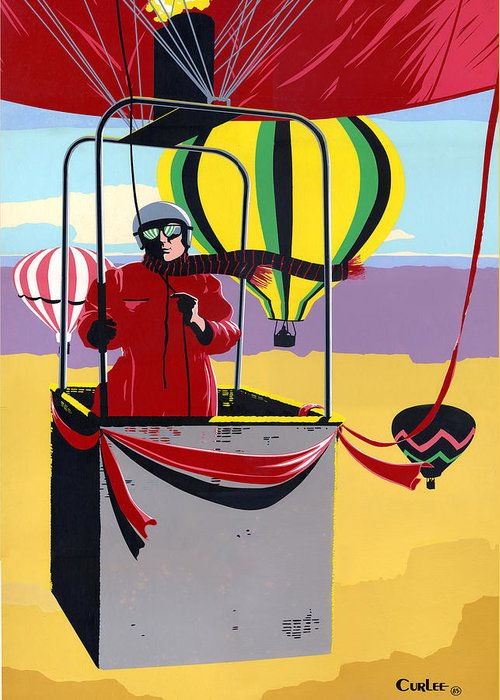 Greeting Card Greeting Card featuring the painting Greeting Card Hot Air Ballooning by Walt Curlee