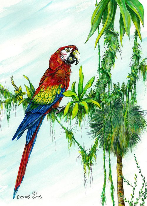 Wildlife Greeting Card featuring the painting Greetings From The Top by Richard Brooks