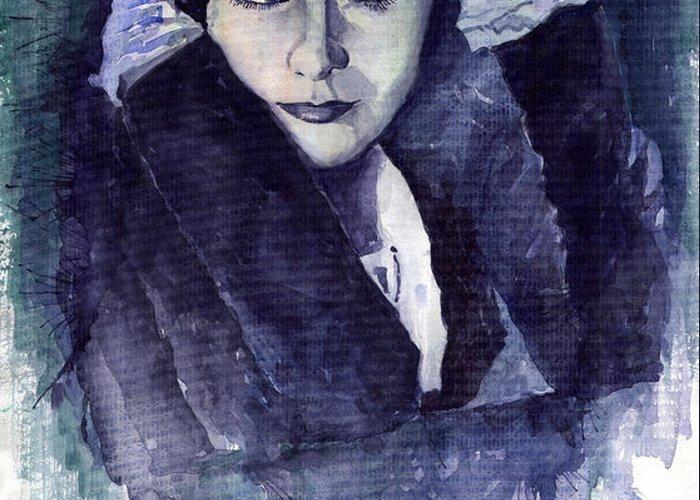Watercolour Greeting Card featuring the painting Greta Garbo by Yuriy Shevchuk
