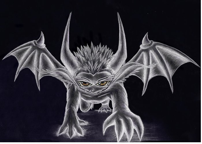 Demon Greeting Card featuring the painting Grevil Silvered by Shawn Dall