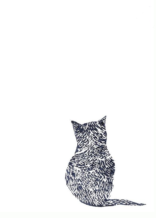 Cat Greeting Card featuring the painting Grey Cat by Sharon Neudeck
