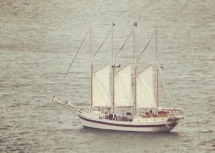 Ship Greeting Card featuring the photograph Gray Day And A Tall Ship by Jill Tuinier