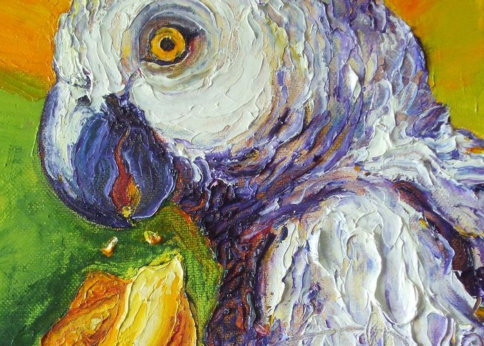 Grey Parrots Greeting Card featuring the painting Grey Parrot And Juicy Mango by Paris Wyatt Llanso