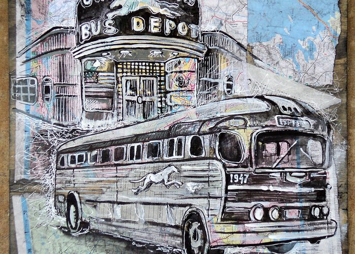 Old Bus Stations Drawings Greeting Cards