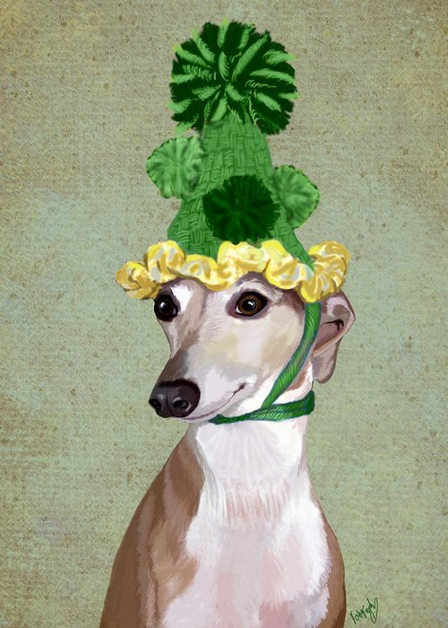 Greyhound Framed Prints Greeting Card featuring the digital art Greyhound Green Bobble Hat by Kelly McLaughlan