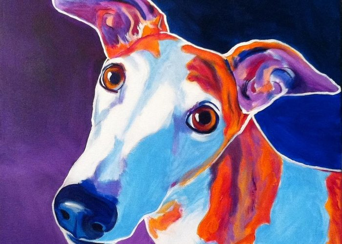 Greyhound Greeting Card featuring the painting Greyhound - Halle by Alicia VanNoy Call