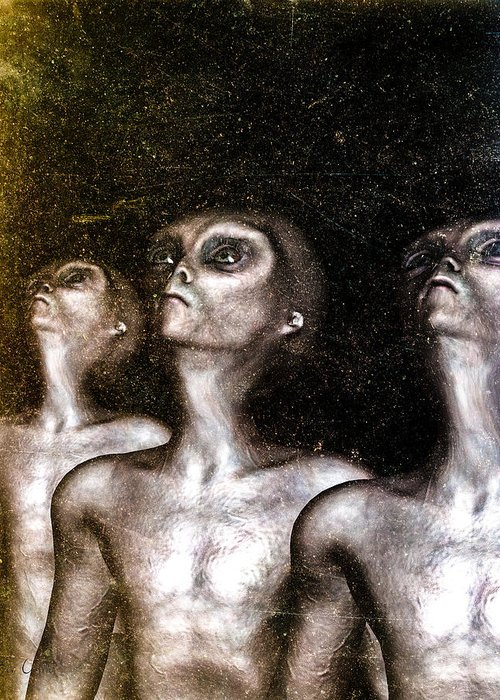 Alien Abduction Greeting Card featuring the digital art Greys by Bob Orsillo