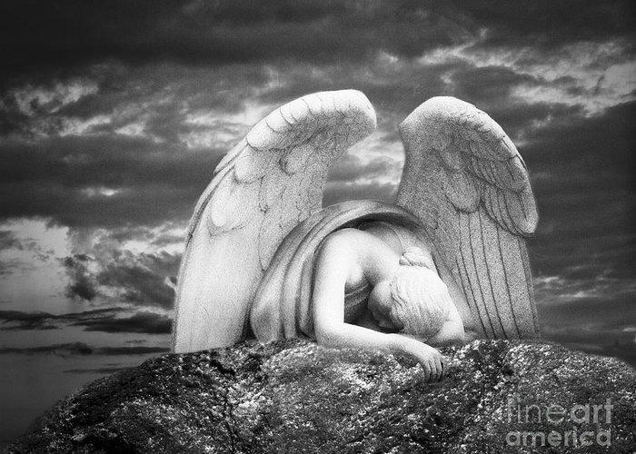 Angel Greeting Card featuring the digital art Grieving Angel by Olga Zamora