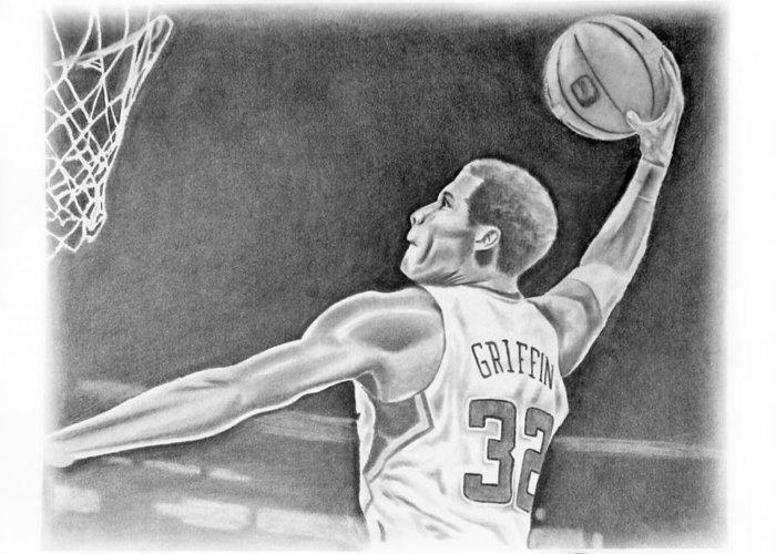 Clippers Greeting Card featuring the drawing Griffin by Don Medina