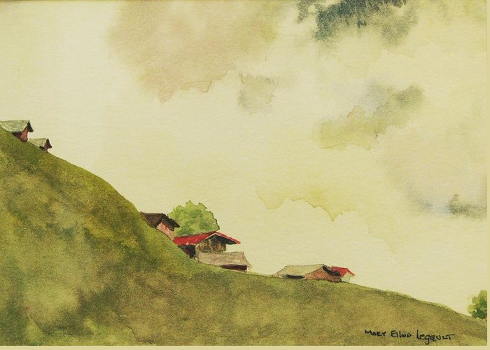 Swiss Greeting Card featuring the painting Grindelwald Dobie Inspired by Mary Ellen Mueller Legault