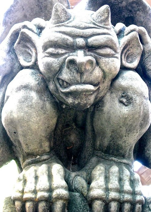 Grinning Gargoyle On A Hot Summer Day Greeting Card featuring the photograph Grinning Gargoyle by Brian Sereda
