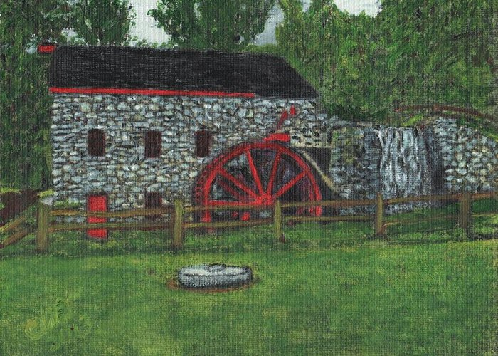 Landscape Greeting Card featuring the painting Grist Mill At Wayside Inn by Cliff Wilson