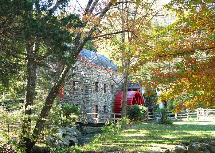 Mill Greeting Card featuring the photograph Grist Mill In Fall by Barbara McDevitt