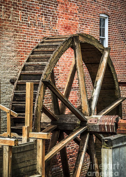 1800's Greeting Card featuring the photograph Grist Mill Water Wheel In Hobart Indiana by Paul Velgos