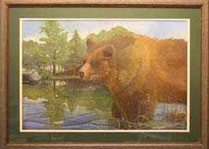 Rick Huotari Greeting Card featuring the painting Grizzly by Rick Huotari