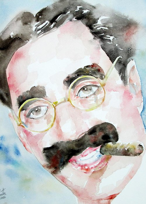 Groucho Greeting Card featuring the painting Groucho Marx Watercolor Portrait.2 by Fabrizio Cassetta