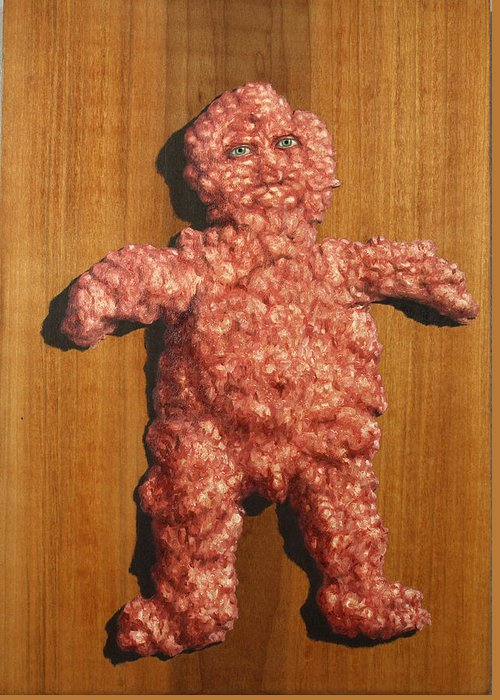 Ground Meat Greeting Card featuring the painting Ground Me by James W Johnson