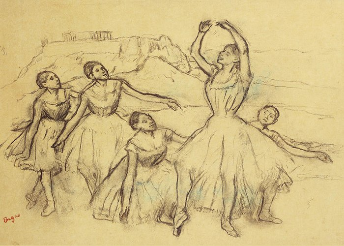 Dancer Greeting Card featuring the drawing Group Of Dancers by Edgar Degas