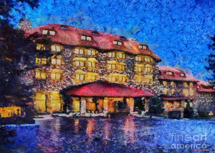 Grove Park Inn Greeting Card featuring the painting Grove Park Inn by Elizabeth Coats