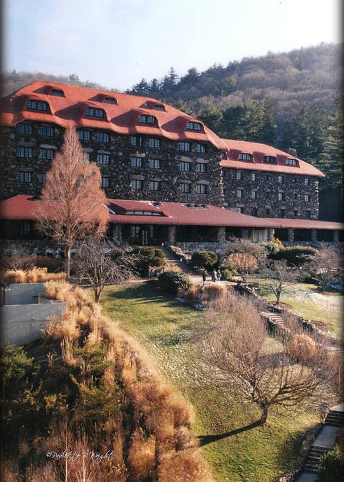 Grove Park Inn Greeting Card featuring the photograph Grove Park Inn In Early Winter by Paulette B Wright