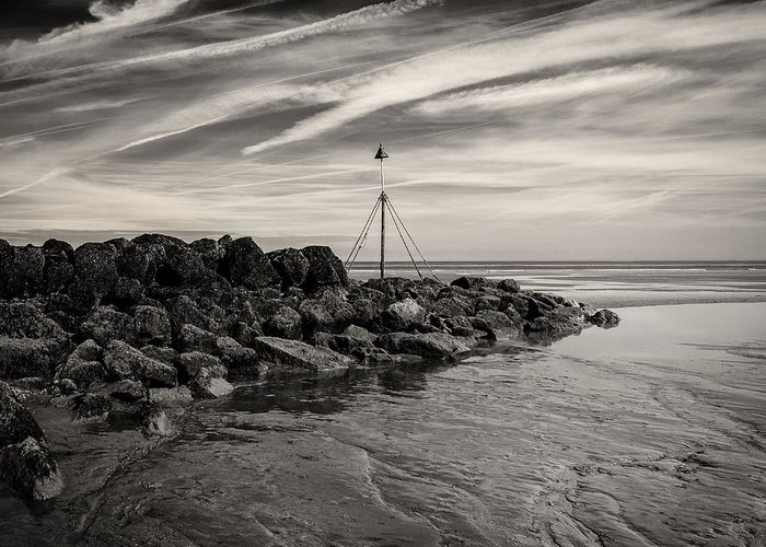 Prestatyn Greeting Card featuring the photograph Groyne Marker by Dave Bowman