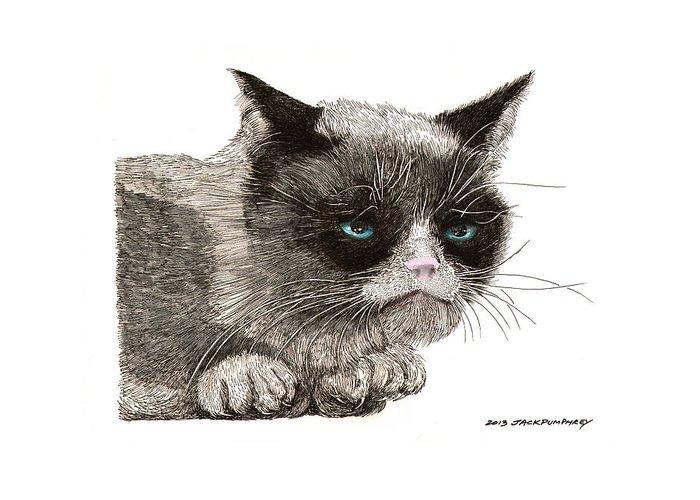 Grumpy Cat Art Greeting Card featuring the drawing Grumpy Pussy Cat by Jack Pumphrey