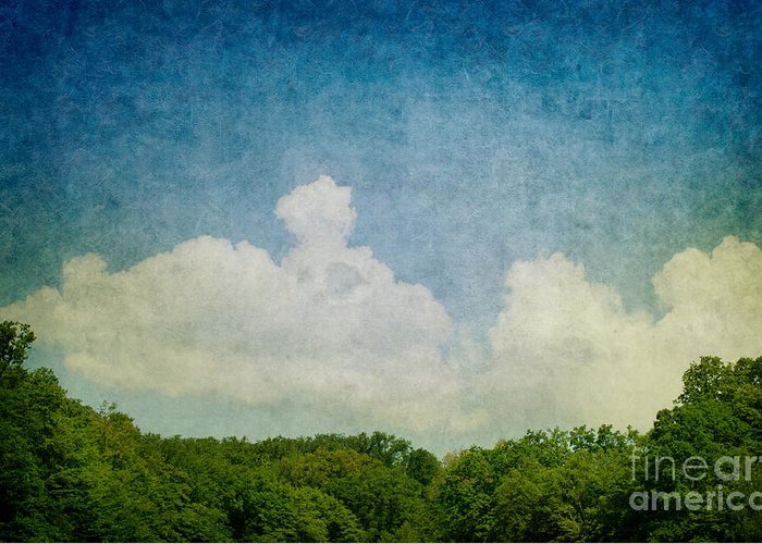 Abstract Greeting Card featuring the digital art Grunge Background With Landscape by Mythja Photography