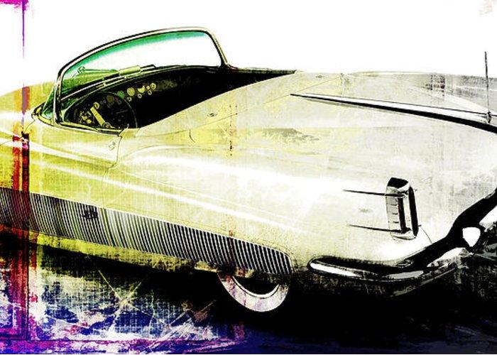 Vintage Greeting Card featuring the digital art Grunge Retro Car by David Ridley