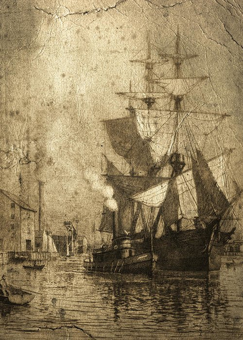 Schooner Greeting Card featuring the photograph Grungy Historic Seaport Schooner by John Stephens
