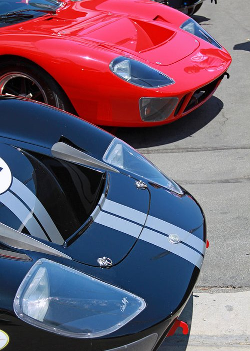 Ford Gt40 Greeting Card featuring the photograph Gt40s by Shoal Hollingsworth