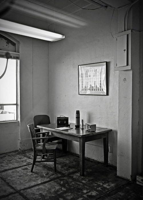 Communications Greeting Card featuring the photograph Guard Dining Area In Alcatraz Prison by RicardMN Photography