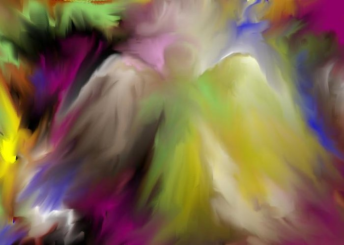 Impressionism Angel Art Prints Greeting Card featuring the digital art Guardian Angel by Jessica Wright