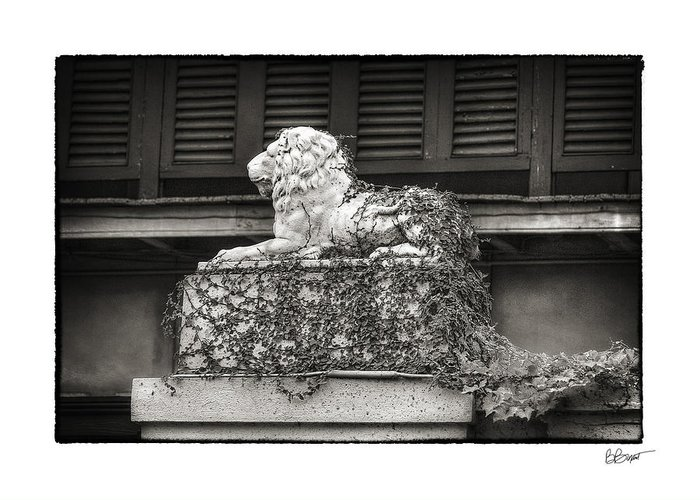 New Orleans Greeting Card featuring the photograph Guardian In Black And White by Brenda Bryant