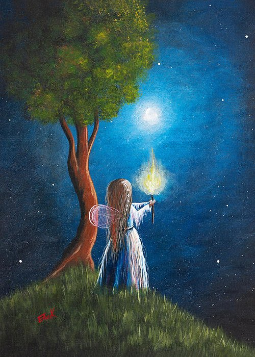 Fairy Greeting Card featuring the painting Guardian Of Light By Shawna Erback by Shawna Erback
