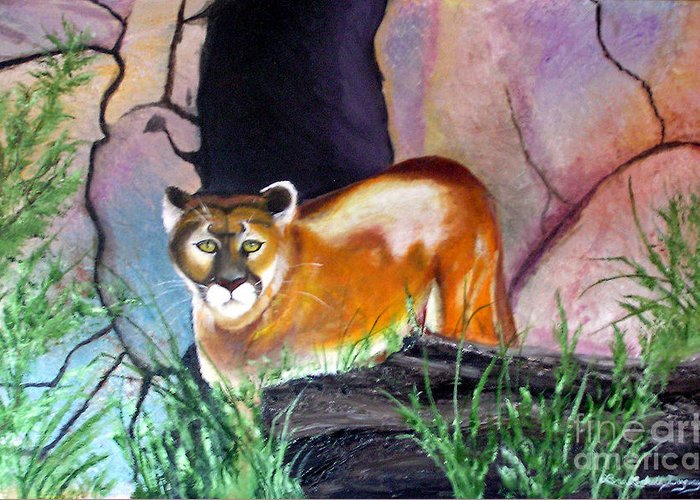 Big Cats Greeting Card featuring the painting Guarding The Cave by Lora Duguay