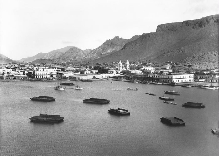 1900 Greeting Card featuring the photograph Guaymas Harbor by Underwood Archives