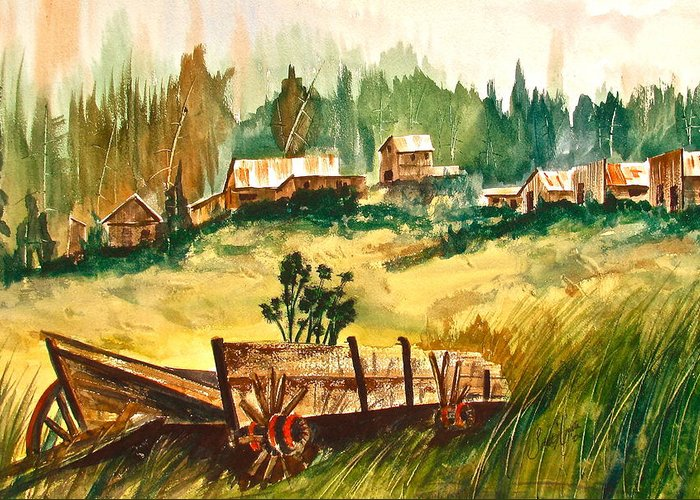 Ashcroft Greeting Card featuring the painting Guess We'll Settle Here IIi by Frank SantAgata