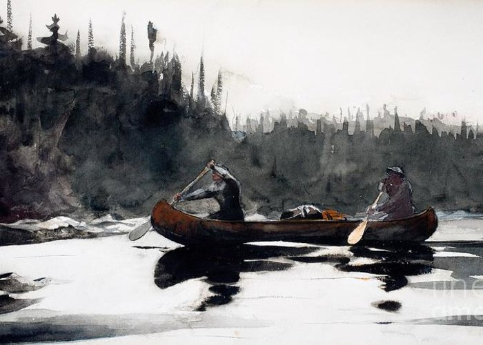Guide Greeting Card featuring the painting Guides Shooting Rapids by Winslow Homer