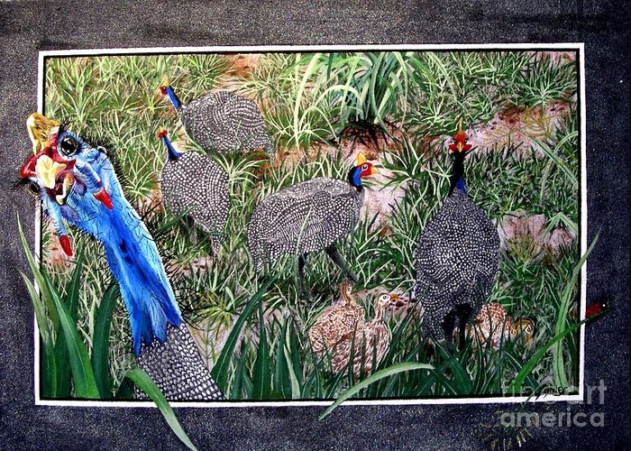 Painting Greeting Card featuring the painting Guinea Fowl In Guinea Grass by Sylvie Heasman